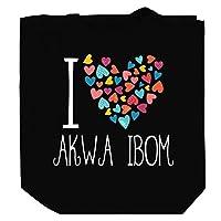 "Teeburon I love Akwa Ibom colorful hearts キャンバストートバッグ10.5""x 16"" x 4"""