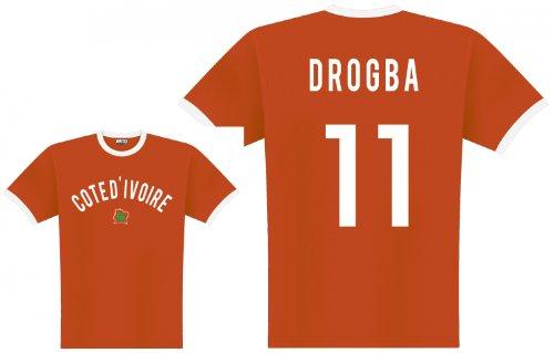 World of Football Player Shirt Elfenbeinküste Drogba, orange - L