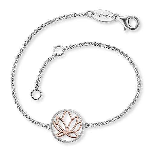 Engelsrufer - silberne Armbänder Bicolor Lotusblüte, Lotusblume in rose für Damen, Armkettchen aus 925 Sterlingsilber, schmales echtsilber Frauen Armband Lotus Blüte