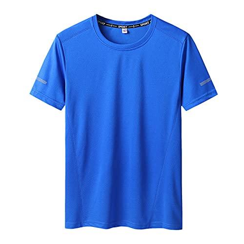 Camiseta de Secado rápido para Hombre, Sudadera con Cuello Redondo Grueso, Talla Grande, Media Manga, Parte Superior Fina de Verano L-90XL