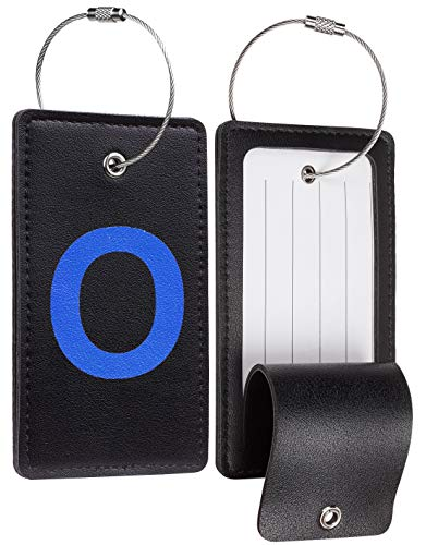 Travelambo Initial Luggage Tag Baggage Bag Tags Travel Fully Bendable Tag Stainless Steel Loop 2 pcs Set (O)