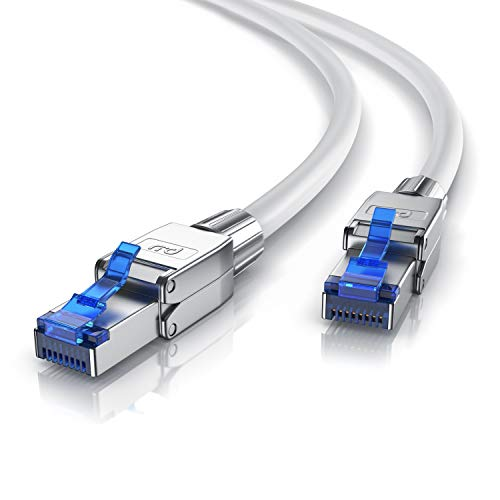 CSL - 1m Cat 8 Netzwerkkabel - 8.1 Standart Class 1-40000 Mbit S - 2000 MHz - Gigabit Ethernet LAN Kabel - Patchkabel - S FTP Pimf Schirmung mit Feldkonfektionierbarem RJ 45 Stecker
