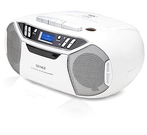 Denver TDC-250 Portable Digital DAB DAB+ FM Radio With CD & Cassette Player, USB, AUX IN, Clock Alarm, Stereo Audio & Headphone, Mains Or Battery Powered – White