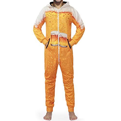 Morbuy Mono Pijama de Hombre, Sudadera con Capucha en Una Sola Pieza Manga Larga Impresión 3D Cierre de Cremallera Playsuit Adulto Suelto Jumpsuit