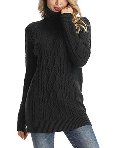 Rocorose Women's Cable Knit Long Sleeves Turtleneck Sweater Black XS