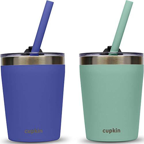 CUPKIN Vasos de paja apilables de acero inoxidable para niños pequeños (FÁCILES de limpiar) - Juego de 2 vasos aislados al vacío con recubrimiento en polvo, (Cobalto + Menta 8.5 OZ)