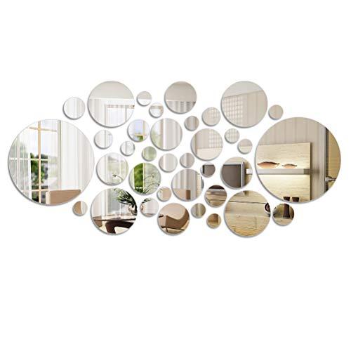 FOCCTS 36 Stück Spiegelblätter Einfacher moderner Acrylspiegel Kunststoff Spiegel Selbstklebende Quadrat Fernsehhintergrund Fliesen Spiegel Wandaufkleber