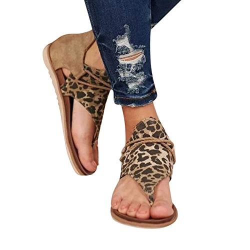 KFEK 2021 verano retro sandalias mujeres zapatos, retro bohemia gladiador franja sandalias casuales plana clip dedo del pie tobillo botas de playa T-correa romana sandalias abiertas