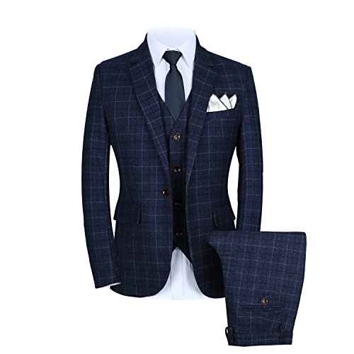WULFUL Men's Suit Slim Fit One Button 3-Piece Suit Blazer Dress Business Wedding Party Jacket Vest & Pants Black
