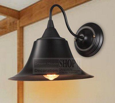 5151BuyWorld Mini, wandlamp, vintage, industriële verlichting, E27, zwart