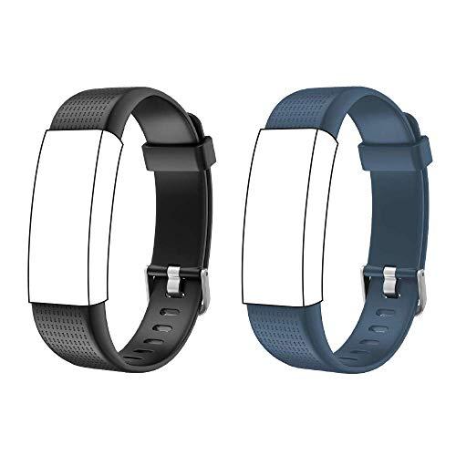 endubro Ersatzarmband für Fitness Tracker ID130 Plus Color HR & viele weitere Modelle aus TPU Skin-Friendly mit antiallergischem Verschluss (Schwarz + Blau)