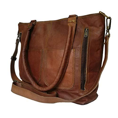 Mad Over Shopping Damen Schulter Tote aus echtem Leder Shopping Handtasche Cross Body Purse Umhängetasche Messenger Bag