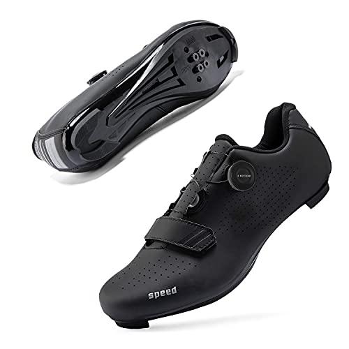 Mens or Womens Road Bike Cycling Shoes Peloton Bike Shoes Compatible SPD Riding Shoe Indoor/Outdoor Size Men's 8/Women's 10.5 Black