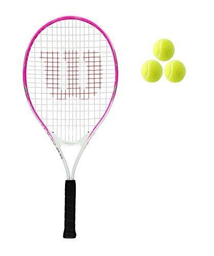Wilson Tour Junior 19,21,23,25 Tennisschläger + 3 Bälle Pink/Rot Mädchen/Jungen - 19