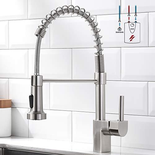 AIMADI Niederdruck Armatur Küche Niederdruckarmatur Wasserhahn mit durchlauferhitzer küchenarmatur niederdruck mit brause Gebürsteter Nickel