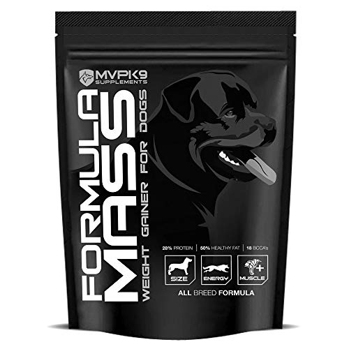 MVP K9 Formula Mass Weight Gainer for Dogs - Helps Promote Healthy Weight Gain, Size and Muscle in Dogs - Great for Skinny, Underweight, Picky Eaters. All Breed Formula, Made in USA (45 Servings)