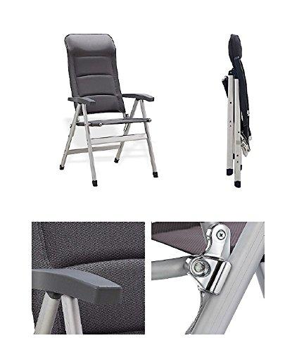 Aluminium - Stabielo campingstoel luxe - 122 cm - leuning 4,5 kilo licht - aluminium stoel - 7 standen verstelbaar - Stabielo - exclusieve stoel met 122 cm leuning - kleur Charcoal Grey - 140 kilo belastbaar - Holly Sunshade - tegen meerprijs leverbaar met houten vachten - Holly® producten STABIBIBIBIBIBIBIBIELO O - Innovaties made in Germany - holly sunshade -