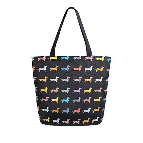 ALAZA Puppy Pug Dog Animal Dachshund Grocery Reusable Tote Bag Women...