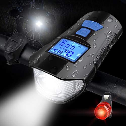 ebuysmart - Velocímetro para Bicicleta (USB, Recargable, 3 en 1, Incluye Pantalla LCD, Accesorios para Bicicleta de montaña)