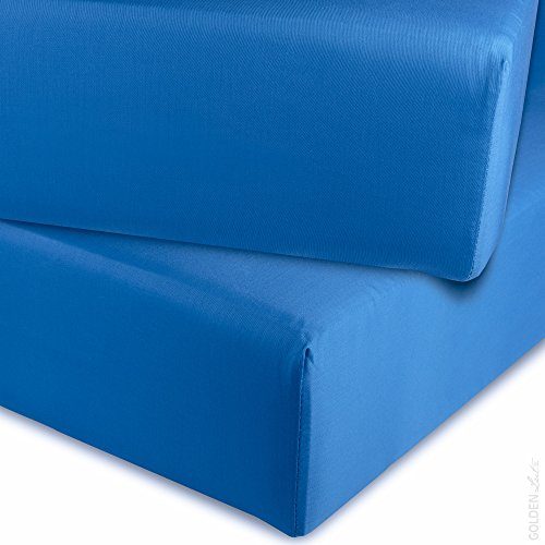 Meradiso® Satin-Spannbettlaken, 180 x 200 x 25 cm (Mittelblau), 100% Baumwolle