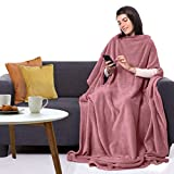 CANDY CANE Premium Wearable Fleece Blanket 70'x50' with Three Holes - Super Soft, Lightweight, Microplush, Cozy and Functional Throw Blanket for Adult, Women and Men (Sunset Pink)