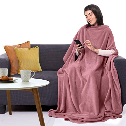 """CANDY CANE Premium Wearable Fleece Blanket 70""""x50"""" with Three Holes - Super Soft, Lightweight, Microplush, Cozy and Functional Throw Blanket for Adult, Women and Men (Sunset Pink)"""