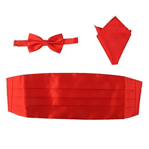 3pcs Conjunto de Pajarita Lazo de Corbata Pañuelo Fajín Satén para Hombre (rojo)