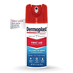 FIRST AID SPRAY: Get fast pain relief plus antiseptic protection with Dermoplast First Aid Spray. Pain relieving benzocaine works to stop pain on contact in minor scrapes, cuts & burns. Maximum over-the-counter stregth. SAFE & EFFECTIVE: Dermoplast h...