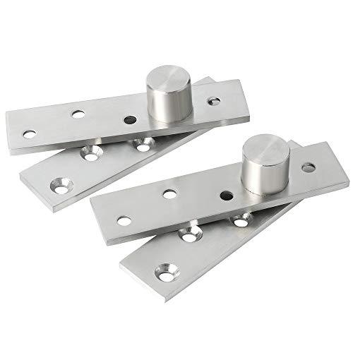 Sayayo Bisagras pivotantes de puerta de 360 grados, acero inoxidable Offset-Axes Rotación Bisagra de pivote de puerta oculta, acabado cepillado, 2 unidades, EJL5100P-2P