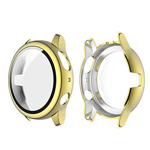 Romacci Capa de revestimento para PC rígido com protetor de tela de vidro temperado HD com cobertura total Capa protetora fina e transparente Substituição da capa do pára-choque para Samsung Galaxy Watch Active 2 44mm ouro