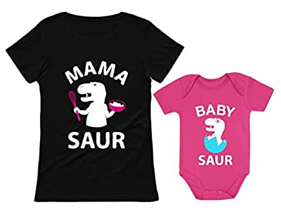 Mama Saur T-Rex Mom and Baby Saur Matching Outfit Mommy and Me Matching Set Mom Black Medium/Baby Wow Pink 12M (6-12M)