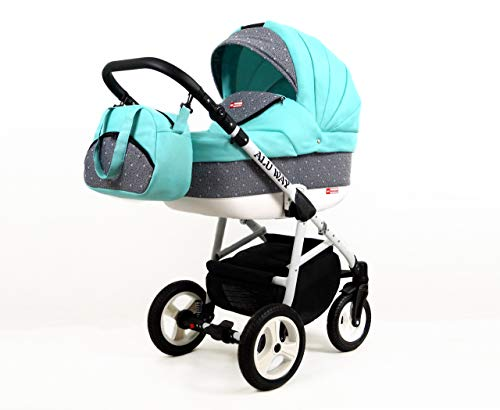 Kinderwagen Alu Way, 3 in 1 - Set Wanne Buggy Babyschale Autositz (Mint)