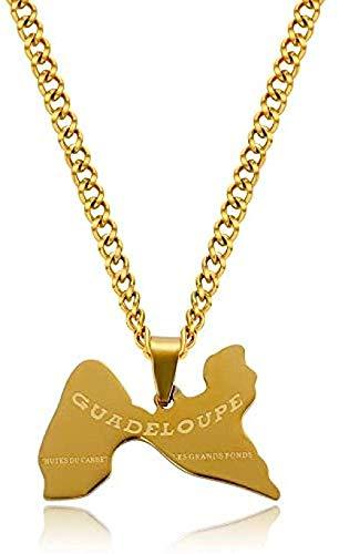 YOUZYHG co.,ltd Halskette Die Guadeloupe Map Anhänger Halsketten für Frauen Männer Gold Silber Legierung Kette Guadeloupe Island Charm Halsketten Schmuck