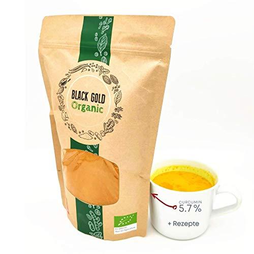 Curcuma Polvere Bio (5,7% Curcumina) ALTA DOSE Senza Glutine + Ricette | Rafforza Sistema Immunitario, Latte Oro, Ayurveda Superfood, India Kurkuma Spice Biologica, Integratore Alimentare Naturale