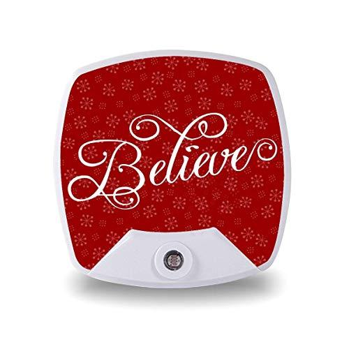Lámpara LED de noche con sensor inteligente de atardecer a amanecer, cree en Navidad, copo de nieve, lámpara blanca cálida para niños y escaleras, pasillo, cocina, dormitorio