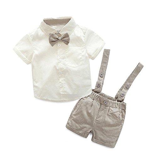 K-youth® Conjuntos Bebé Niño, Ropa Recién Nacidos Bebe Niño Camiseta Mangas Cortas Tops y Pantalones Cortos y Corbata de Moño Verano Ropa Conjunto 0-3 Años (Caqui, 12-24 Meses)