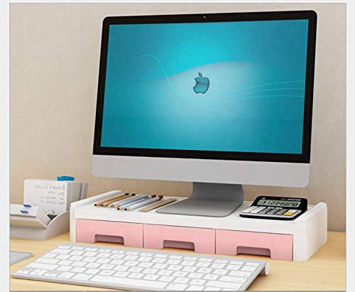 KaBurger - Soporte para Monitor de Ordenador portátil, con 3 cajones, Color Rosa einstufig Stütze +3 Schubladen