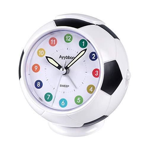 ZKIAH Reloj Despertador Infantil Niño Niña, Despertador de Viaje Originales de Fútbol para Dormitorio sin tictac con Luz Nocturna Despertador Pilas