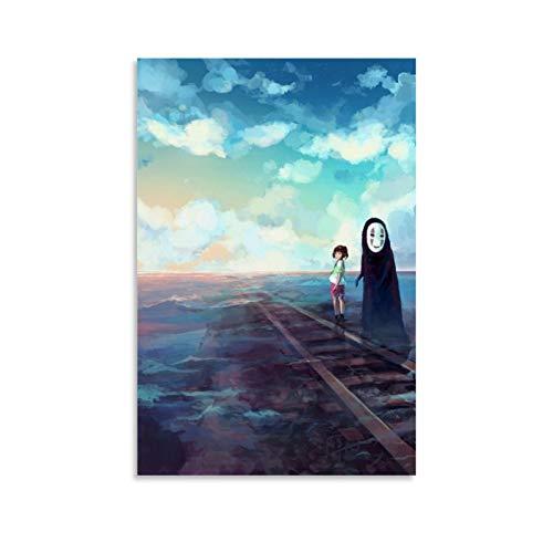 QWKM Anime-Poster, Miyazaki Hayao Spirited Away No Face Man Studio Ghibli Poster, Kunstdruck, dekoratives Gemälde, Leinwand, Wandkunst, Wohnzimmer, Poster, Schlafzimmer, Malerei, 50 x 75 cm