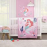 Disney The Little Mermaid Pink, Aqua, & Coral Ariel Cute by Nature 3Piece Nursery Crib Bedding Set - Comforter, Crib Sheet, Dust Ruffle, Pink, Aqua, Coral, Navy