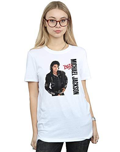 Michael Jackson Mujer Bad Pose Camiseta del Novio Fit Blanco Large
