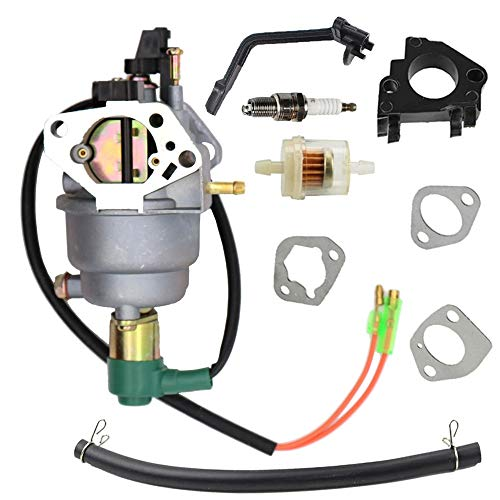 SAKITAM Manual Carburetor Carb with Gaskets Fuel Filter Spark Plug Kit for Champion Power CPE 40046 41111 5000 6000 Watt Generator