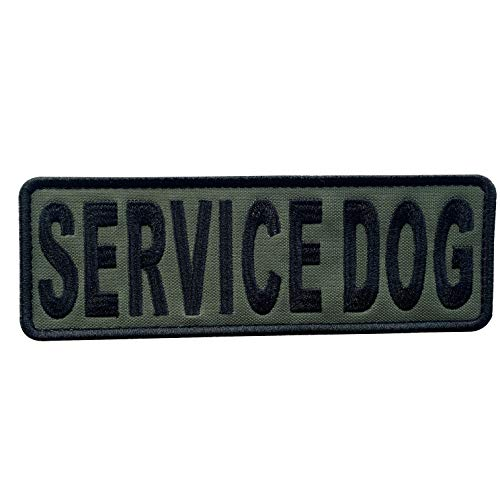uuKen Embroidery Fabric Cloth K9 Large Service Dog Embroidered Military Tactical Morale Patch 6x2 inches with Hook Fastener Back for Tactical Vest or Harness K9 Collar (OD Green and Black, 6'x2')
