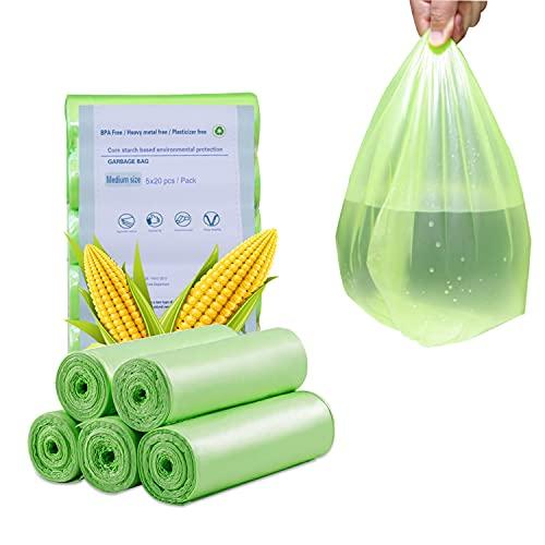 HENGBIRD 100 zakken Bio vuilniszakken professionele zware lasten afvalzakken scheurvast, 50 x 60 cm 5 rollen, antraciet keuken levensmiddelen afvalzakken, 100% composteerbaar biologisch afbreekbaar zakken van maïszetmeel