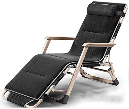 Silla plegable Sillón Tumbonas tumbona ,reposera asiento reclinable ajustable superior terraza de la piscina,la ingravidez plegable marco de acero tubular estable marco 178 * 67 * 30 cm Negro,negro