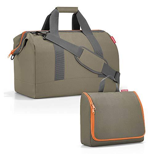 reisenthel Set sac de voyage Allrounder taille L avec trousse de toilette toiletbag taille XL - Vert - olive, Large