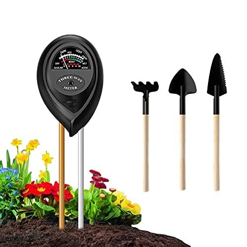 Ouddy Soil Ph Meter, 3-in-1 Soil Test Kit for Soil Measure Moisture, Light and Ph, Soil PH Meter with Mini Garden Tool Set Suitable for Gardens, Lawns, Farms