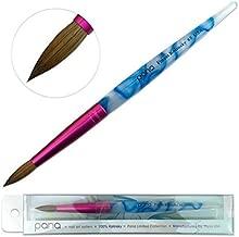 Pana USA Acrylic Nail Brush100% Pure Kolinsky Hair New Design Acrylic White~Swirl~Blue Handle with Pink Ferrule Round Shaped Style (Size # 8)