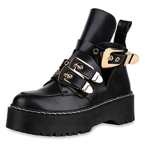 SCARPE VITA Damen Stiefeletten Plateau Boots Cut Out Ankle Booties Schnallen 173337 Schwarz Gold 39