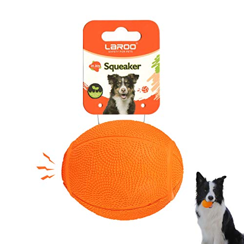 LaRoo Hundespielzeug Hundeball Squeaker, Langlebiges Naturkautschuk Hund Fußball, Quietscher Werfen Hundebälle, Kauspielzeug für Kleine & Große Hunde.